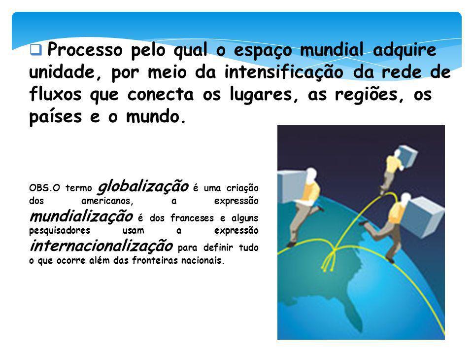 Processo pelo qual o espaço mundial adquire unidade, por meio da intensificação da rede de fluxos que conecta os lugares, as regiões, os países e o mundo.