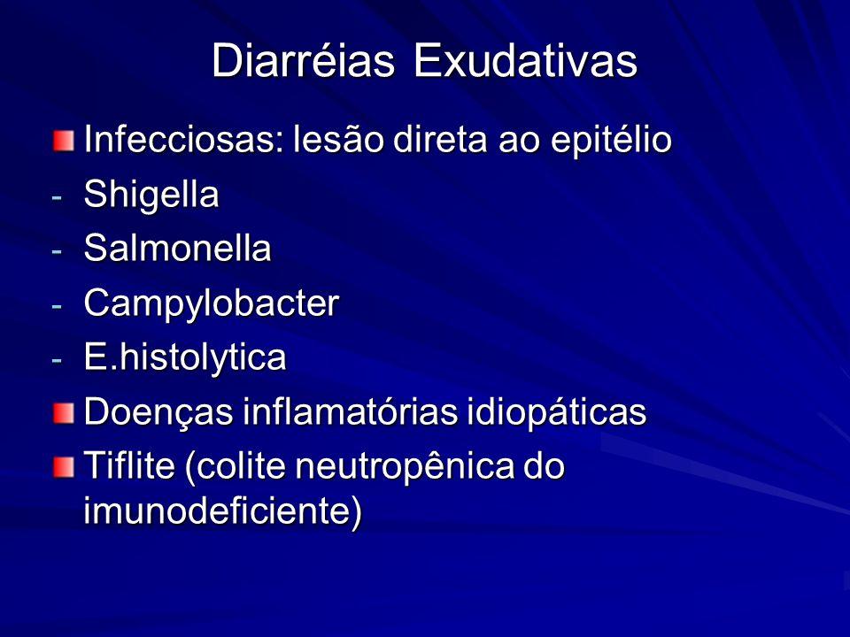 Diarréias Exudativas Infecciosas: lesão direta ao epitélio Shigella
