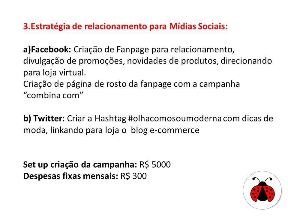 3.Estratégia de relacionamento para Mídias Sociais: a)Facebook: Criação de Fanpage para relacionamento, divulgação de promoções, novidades de produtos, direcionando para loja virtual.
