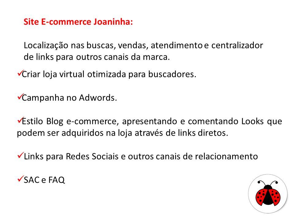 Site E-commerce Joaninha: Localização nas buscas, vendas, atendimento e centralizador de links para outros canais da marca.