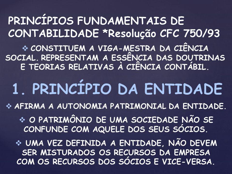 PRINCÍPIOS FUNDAMENTAIS DE CONTABILIDADE *Resolução CFC 750/93