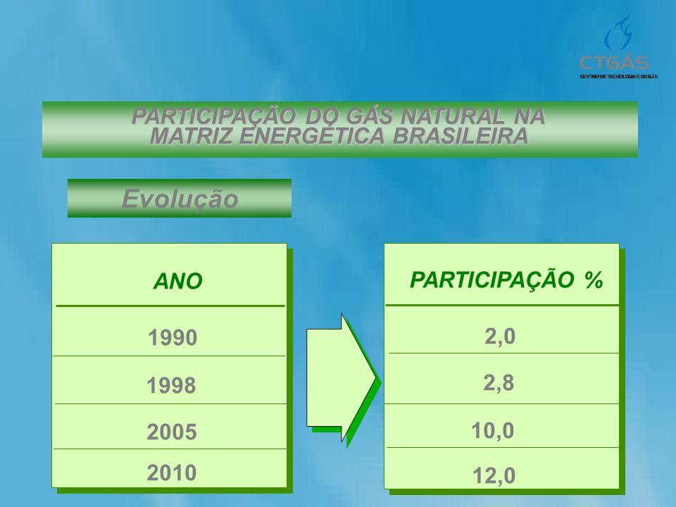 PARTICIPAÇÃO DO GÁS NATURAL NA MATRIZ ENERGÉTICA BRASILEIRA