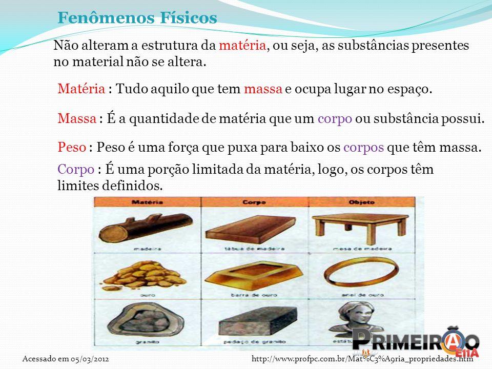 Fenômenos Físicos Não alteram a estrutura da matéria, ou seja, as substâncias presentes no material não se altera.