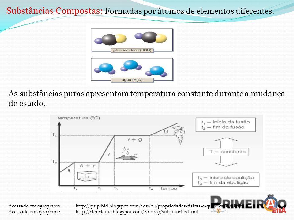 Substâncias Compostas: Formadas por átomos de elementos diferentes.