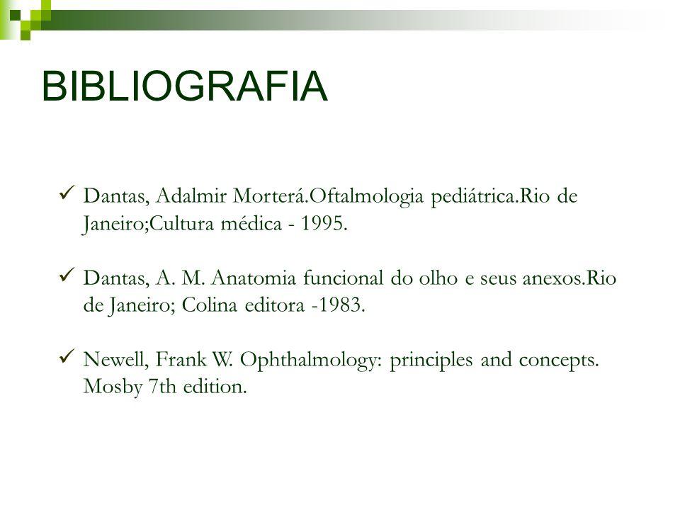 BIBLIOGRAFIA Dantas, Adalmir Morterá.Oftalmologia pediátrica.Rio de Janeiro;Cultura médica - 1995.