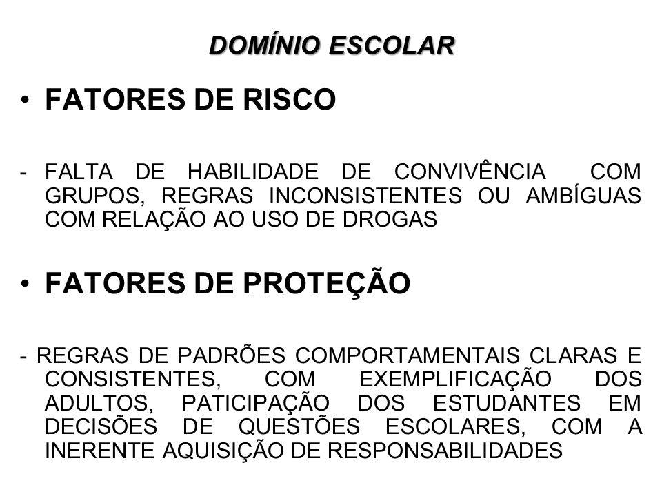 FATORES DE RISCO FATORES DE PROTEÇÃO DOMÍNIO ESCOLAR