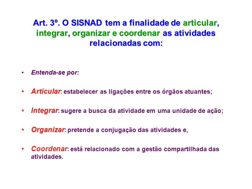 Art. 3º. O SISNAD tem a finalidade de articular, integrar, organizar e coordenar as atividades relacionadas com: