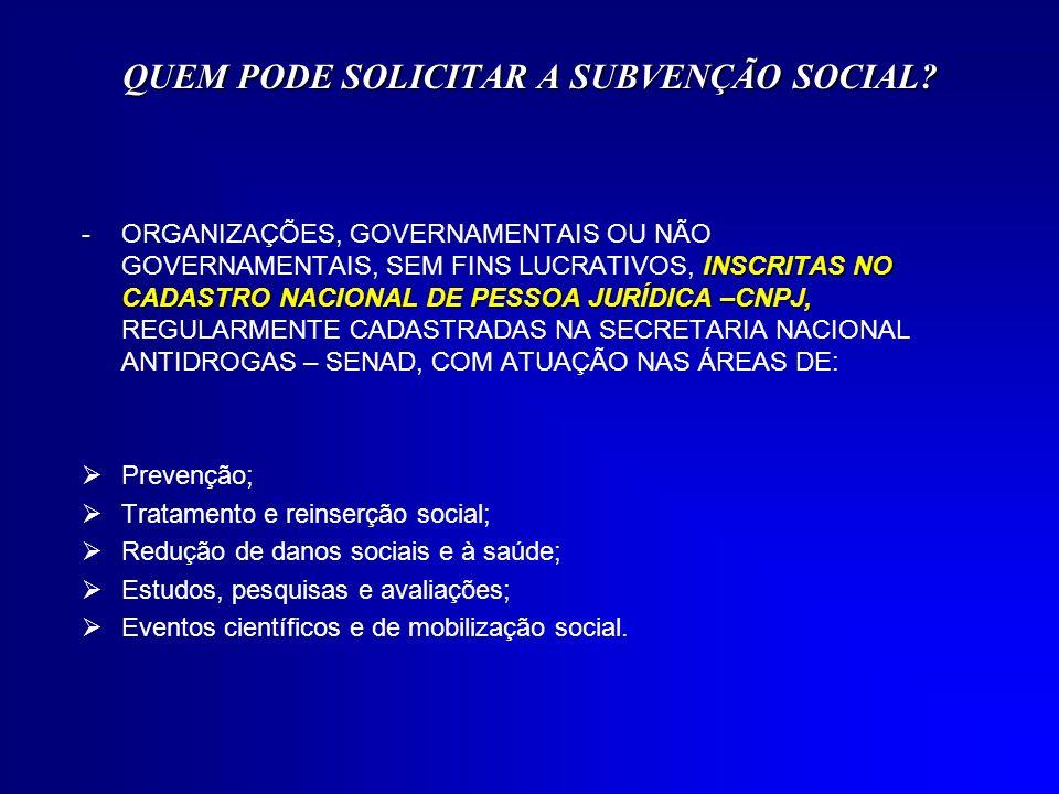 QUEM PODE SOLICITAR A SUBVENÇÃO SOCIAL