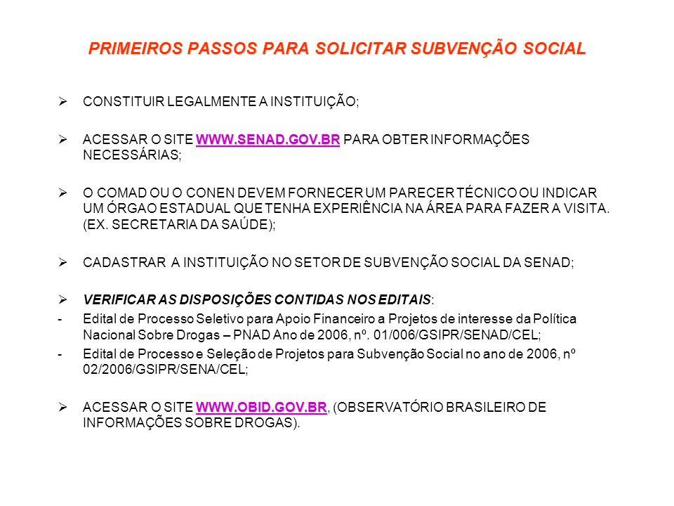 PRIMEIROS PASSOS PARA SOLICITAR SUBVENÇÃO SOCIAL