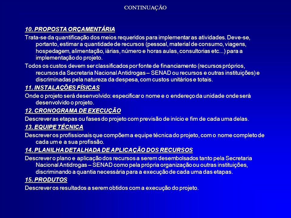 CONTINUAÇÃO 10. PROPOSTA ORÇAMENTÁRIA.