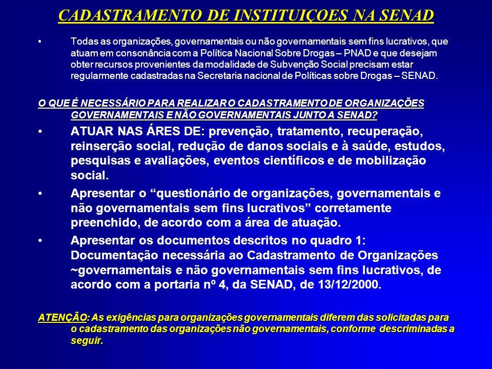 CADASTRAMENTO DE INSTITUIÇOES NA SENAD