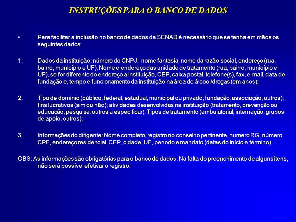 INSTRUÇÕES PARA O BANCO DE DADOS