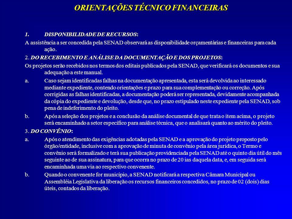 ORIENTAÇÕES TÉCNICO FINANCEIRAS