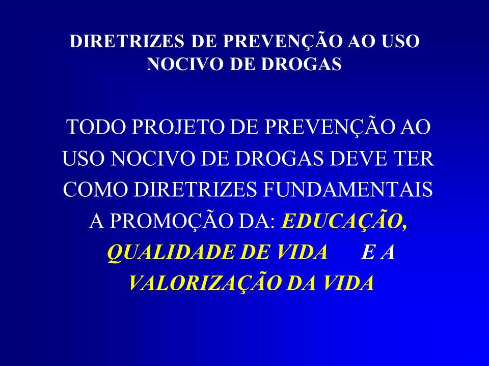 DIRETRIZES DE PREVENÇÃO AO USO NOCIVO DE DROGAS