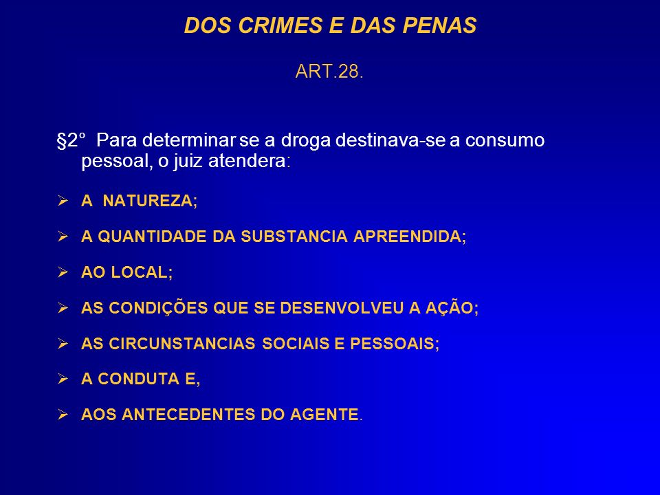 DOS CRIMES E DAS PENAS ART.28.
