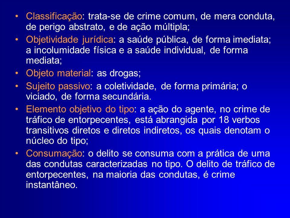 Classificação: trata-se de crime comum, de mera conduta, de perigo abstrato, e de ação múltipla;