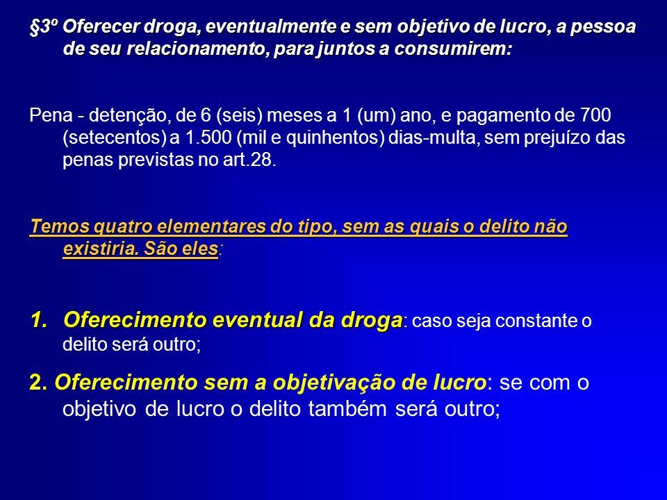§3º Oferecer droga, eventualmente e sem objetivo de lucro, a pessoa de seu relacionamento, para juntos a consumirem: