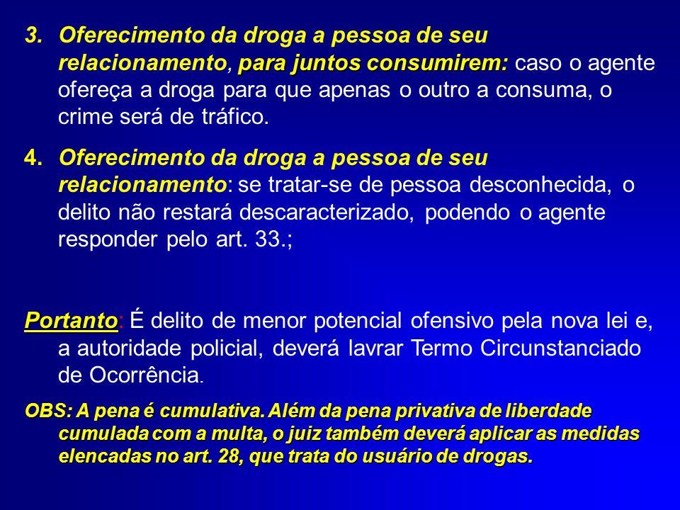 Oferecimento da droga a pessoa de seu relacionamento, para juntos consumirem: caso o agente ofereça a droga para que apenas o outro a consuma, o crime será de tráfico.