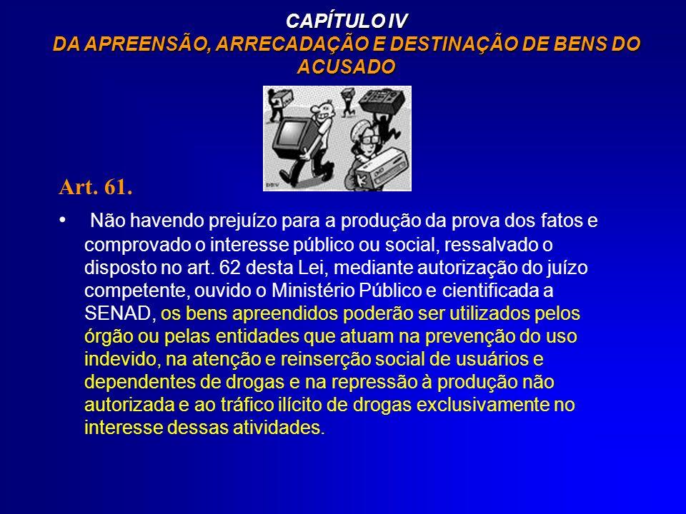 CAPÍTULO IV DA APREENSÃO, ARRECADAÇÃO E DESTINAÇÃO DE BENS DO ACUSADO