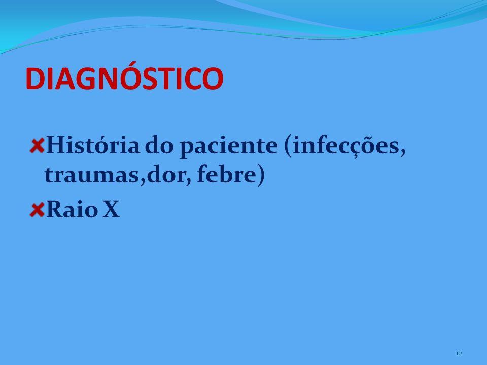 DIAGNÓSTICO História do paciente (infecções, traumas,dor, febre)