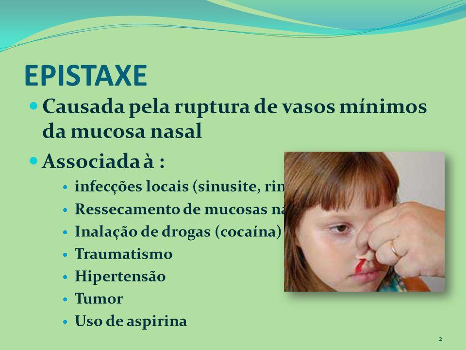 EPISTAXE Causada pela ruptura de vasos mínimos da mucosa nasal