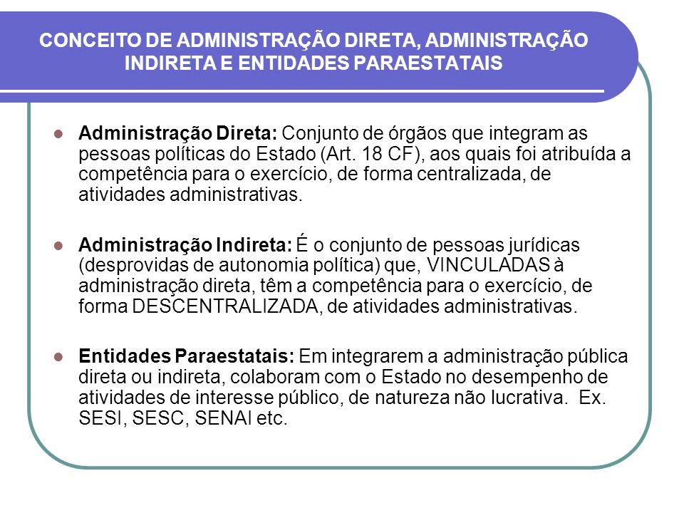 CONCEITO DE ADMINISTRAÇÃO DIRETA, ADMINISTRAÇÃO INDIRETA E ENTIDADES PARAESTATAIS