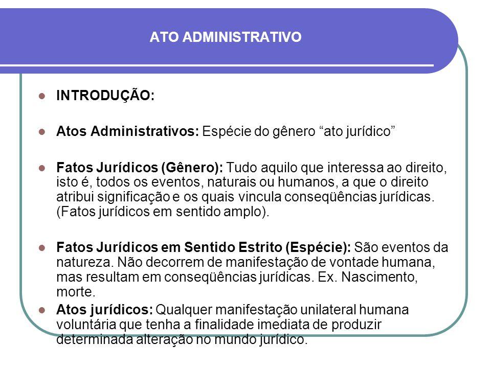 ATO ADMINISTRATIVO INTRODUÇÃO: Atos Administrativos: Espécie do gênero ato jurídico