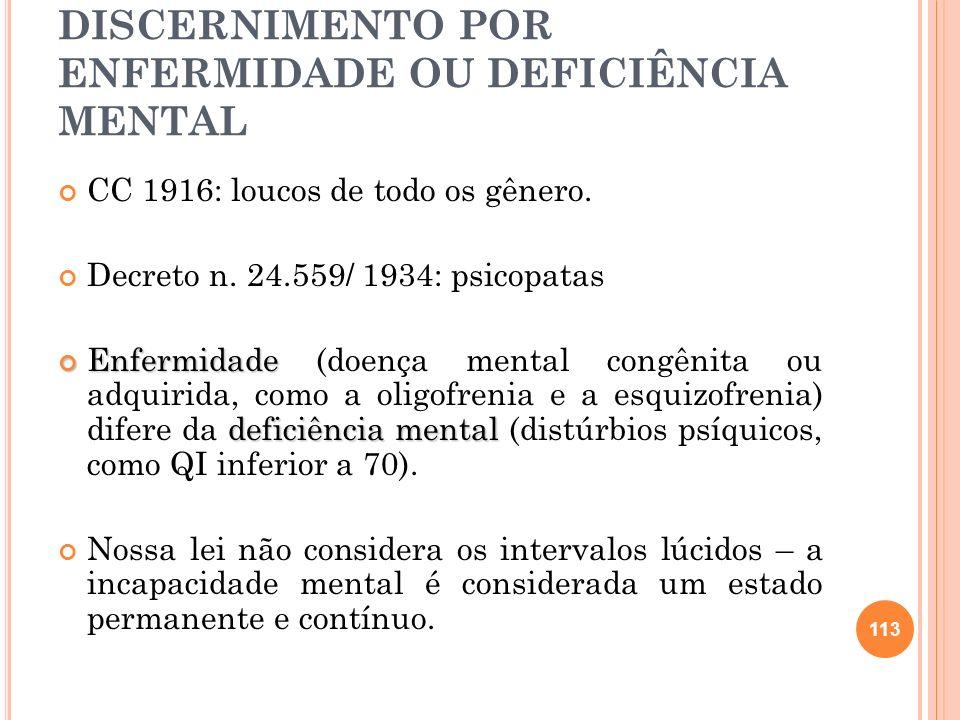 B) PRIVADOS DO DISCERNIMENTO POR ENFERMIDADE OU DEFICIÊNCIA MENTAL