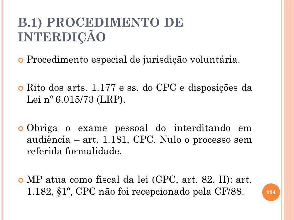 B.1) PROCEDIMENTO DE INTERDIÇÃO