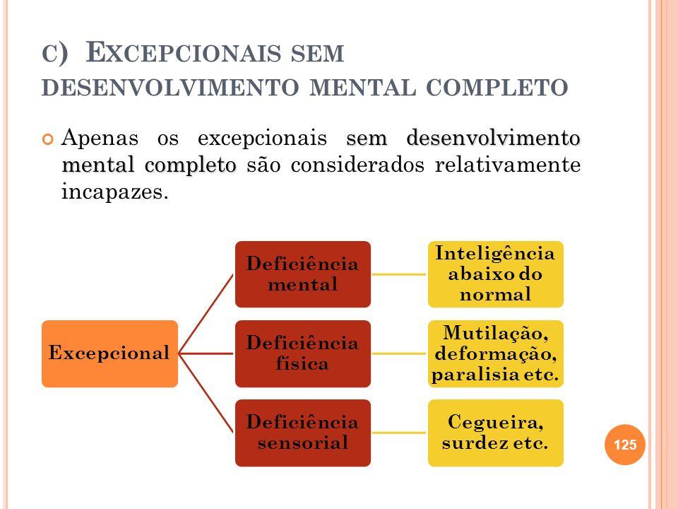 c) Excepcionais sem desenvolvimento mental completo