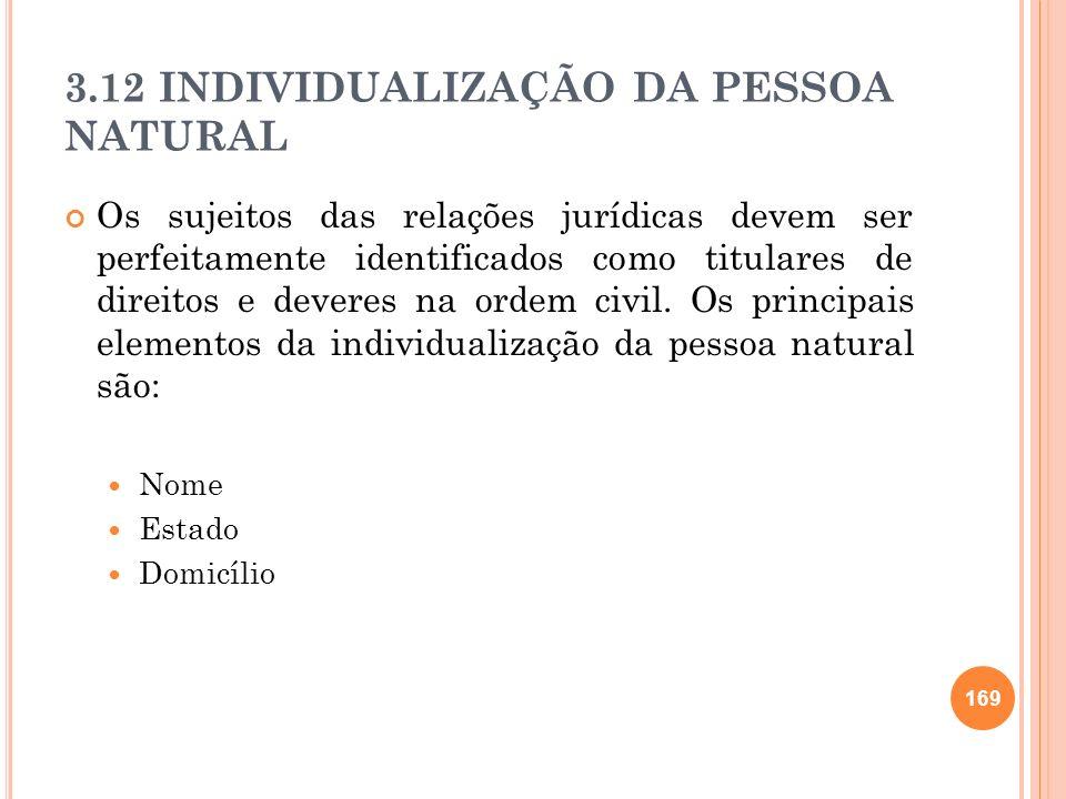 3.12 INDIVIDUALIZAÇÃO DA PESSOA NATURAL