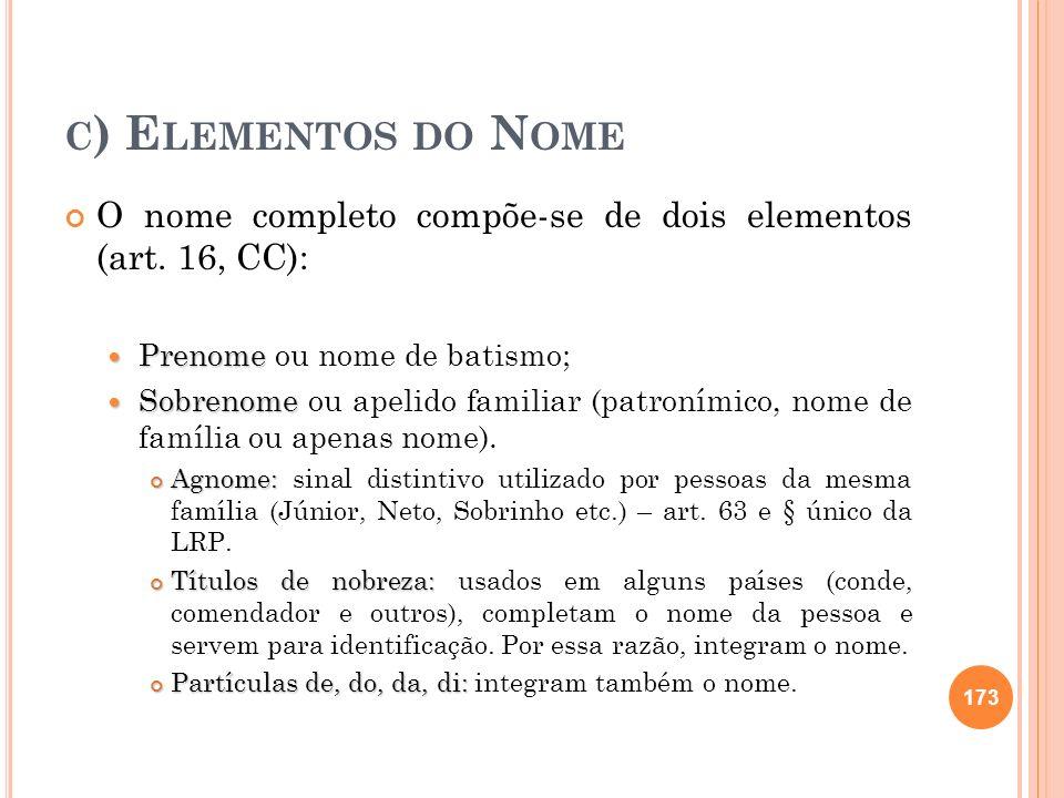 c) Elementos do Nome O nome completo compõe-se de dois elementos (art. 16, CC): Prenome ou nome de batismo;