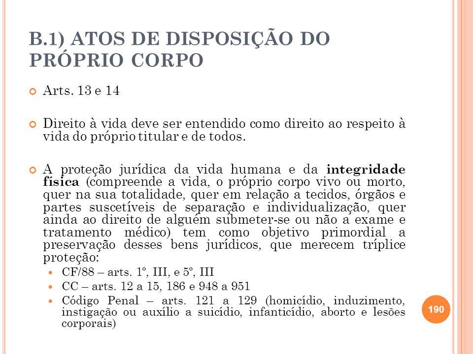 B.1) ATOS DE DISPOSIÇÃO DO PRÓPRIO CORPO