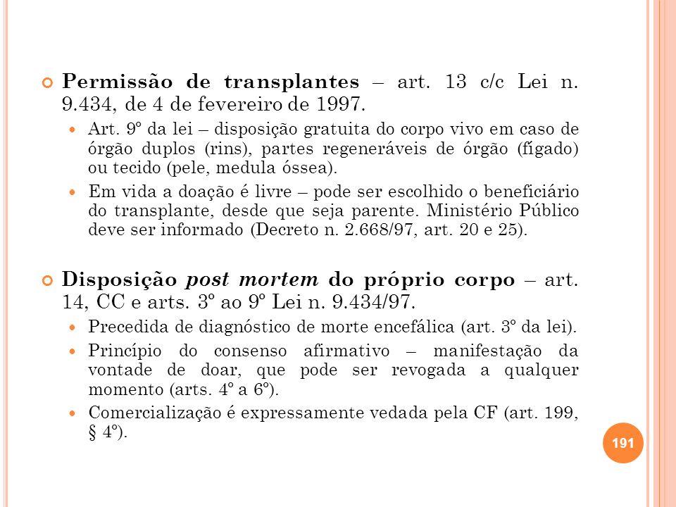 Permissão de transplantes – art. 13 c/c Lei n. 9