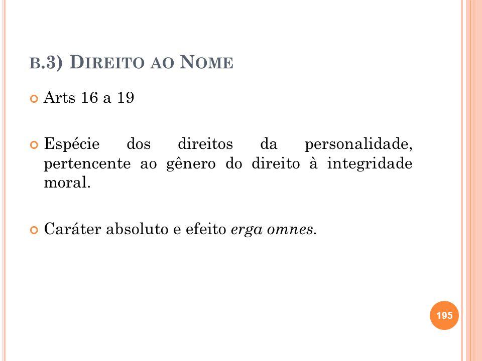 b.3) Direito ao Nome Arts 16 a 19