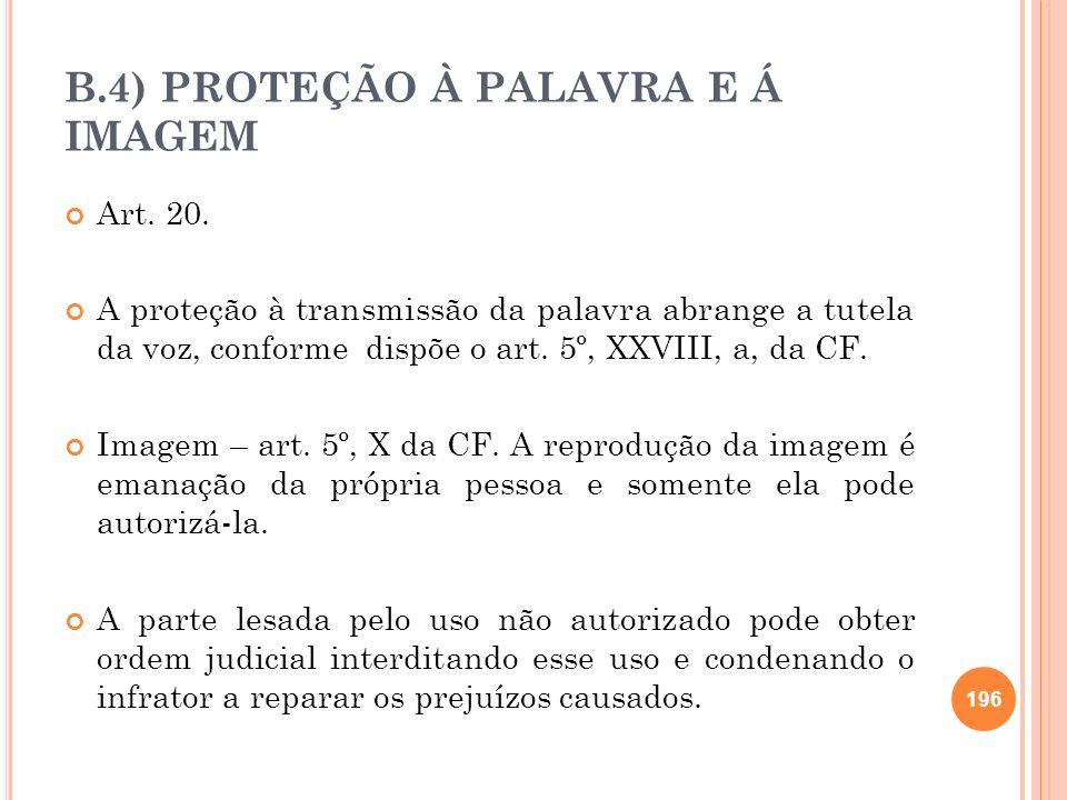 B.4) PROTEÇÃO À PALAVRA E Á IMAGEM