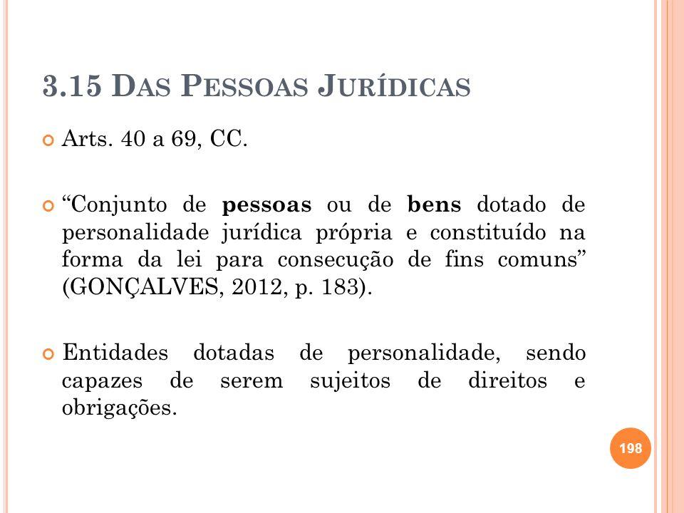3.15 Das Pessoas Jurídicas Arts. 40 a 69, CC.