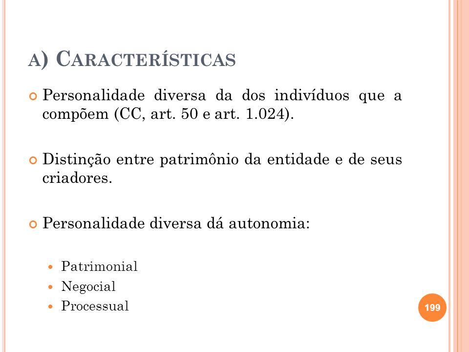 a) Características Personalidade diversa da dos indivíduos que a compõem (CC, art. 50 e art. 1.024).