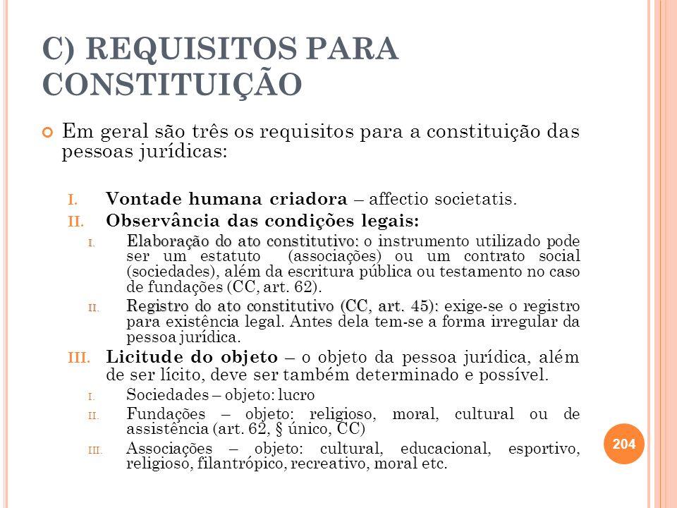 C) REQUISITOS PARA CONSTITUIÇÃO