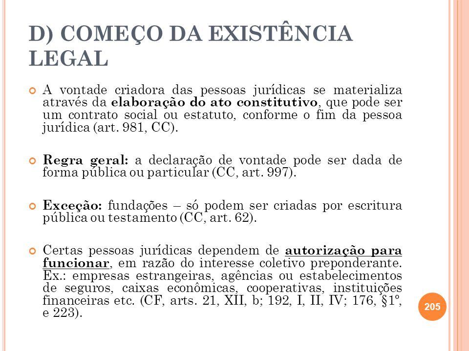 D) COMEÇO DA EXISTÊNCIA LEGAL