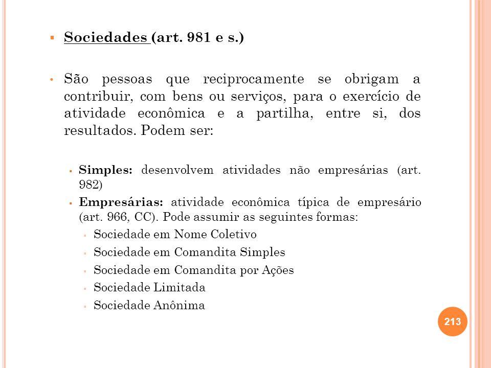 Sociedades (art. 981 e s.)