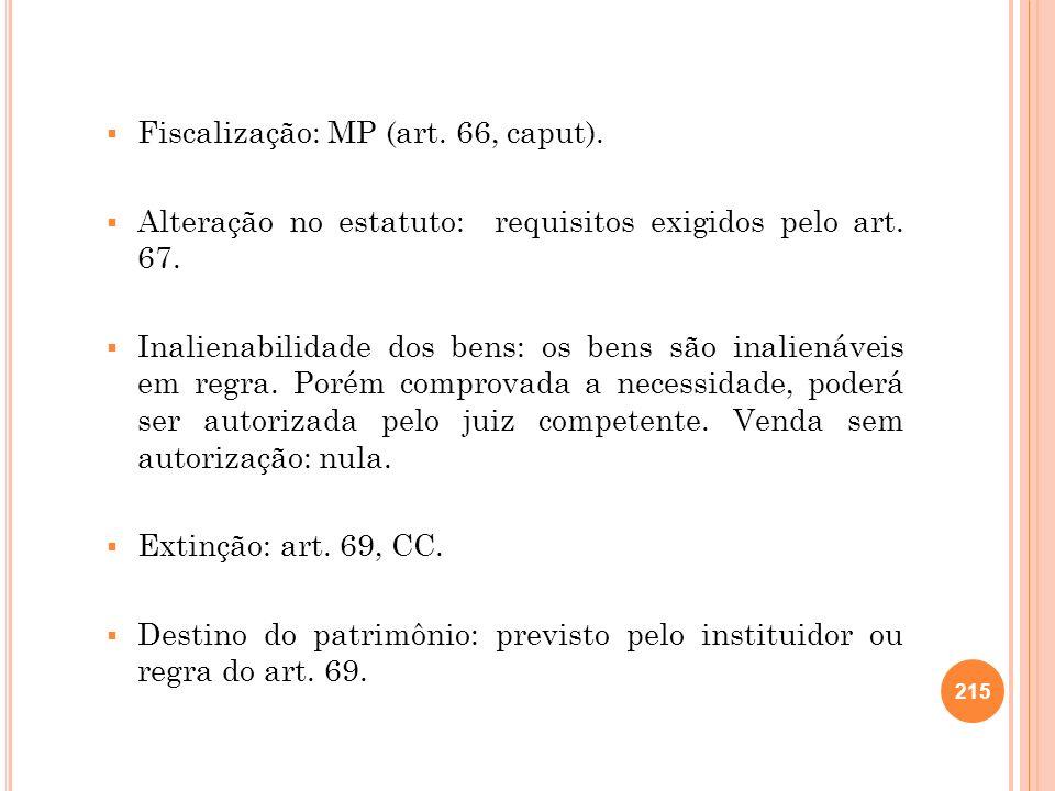 Fiscalização: MP (art. 66, caput).