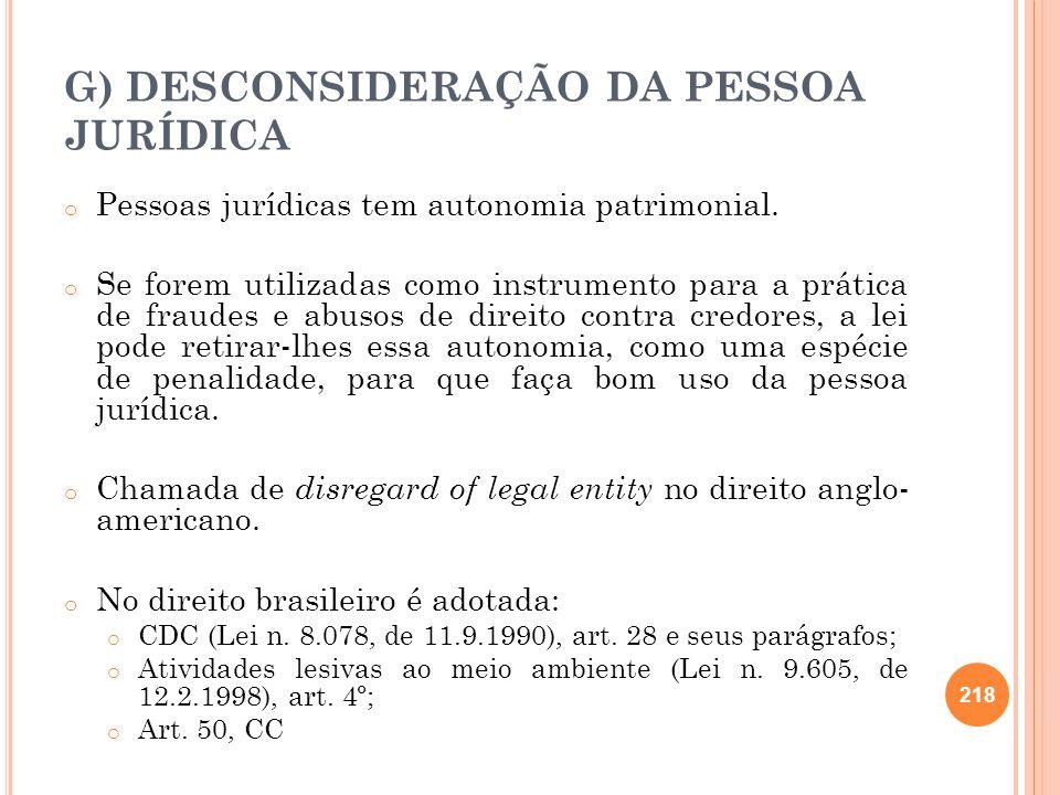 G) DESCONSIDERAÇÃO DA PESSOA JURÍDICA