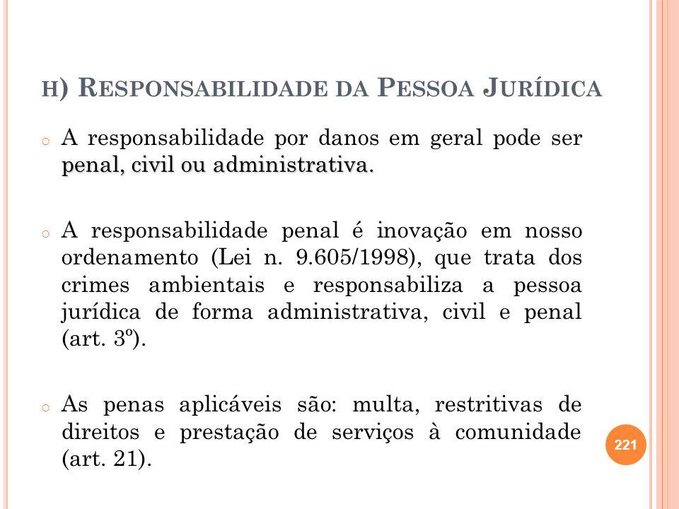 h) Responsabilidade da Pessoa Jurídica