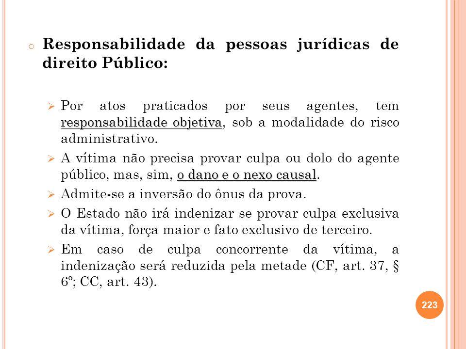 Responsabilidade da pessoas jurídicas de direito Público:
