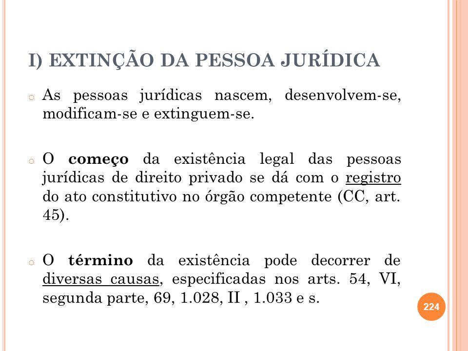 I) EXTINÇÃO DA PESSOA JURÍDICA