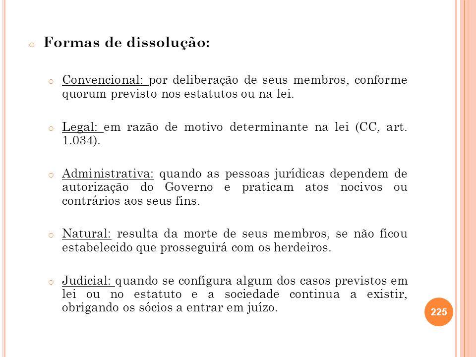 Formas de dissolução:Convencional: por deliberação de seus membros, conforme quorum previsto nos estatutos ou na lei.