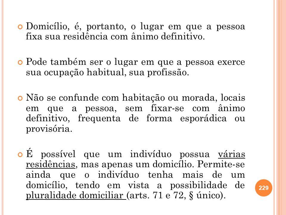 Domicílio, é, portanto, o lugar em que a pessoa fixa sua residência com ânimo definitivo.