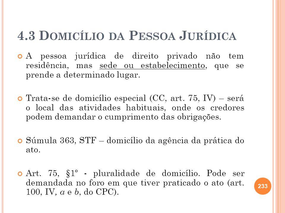 4.3 Domicílio da Pessoa Jurídica