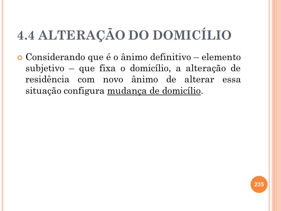 4.4 ALTERAÇÃO DO DOMICÍLIO